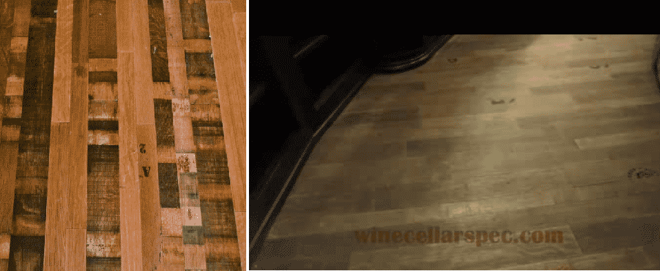 Wine Cellar Floor from Reclaimed Wine Barrels
